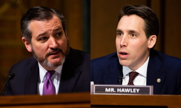 Senator Ted Cruz, left, and Senator Josh Hawley, right. Photos: Diego M. Radzinschi/ALM.