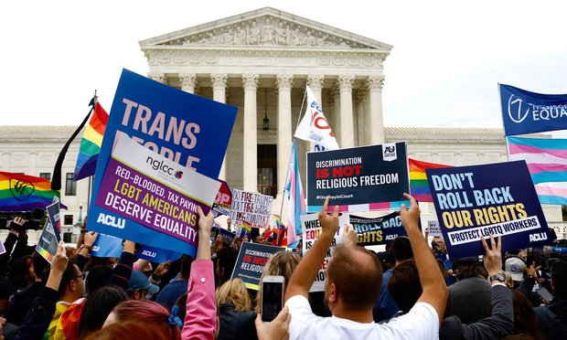 Demonstrations outside the U.S. Supreme Court on the day of arguments in the workplace discrimination cases involving gay workers, on Tuesday, October 8, 2019.