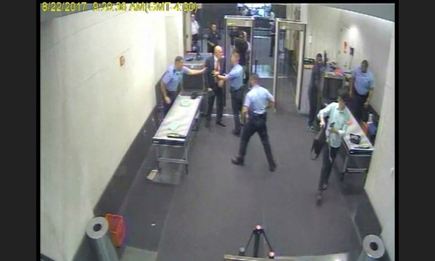 Screenshot of video of attorney Clifford Haines incident