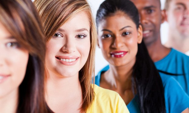 closeup portrait of group multiracial people