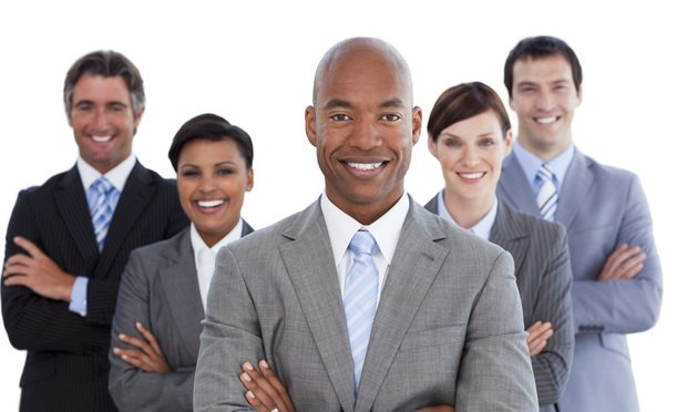 Portrait of joyful business team against a white background, smiling, smile, happy