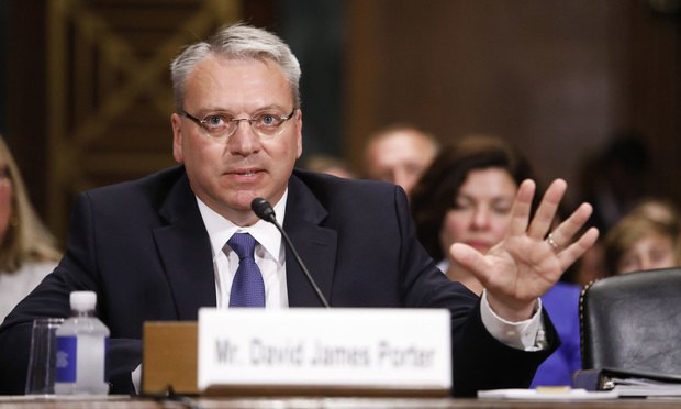 David Porter testifies before the U.S. Senate Judiciary Committee during his confirmation hearing to be U.S. circuit judge for the Third Circuit, on June 6.