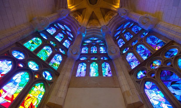 Stained glass windows in a church.