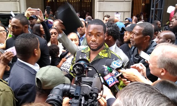 Meek Mill speaks to media