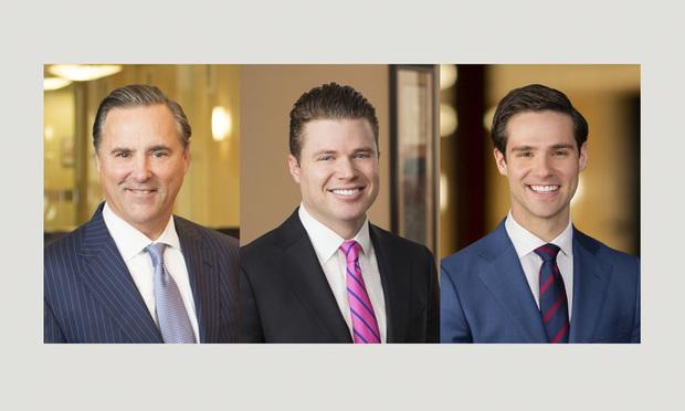 (l-r) Ed Seglias, Robbie O'Brien, and Matt Skaroff of Cohen Seglias Pallas Greenhall & Furman.