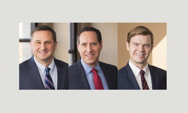 (l-r) Christopher D. Carusone, Steven M. Williams, and Carl L. Engel, with Cohen Seglias Pallas Greenhall & Furman.