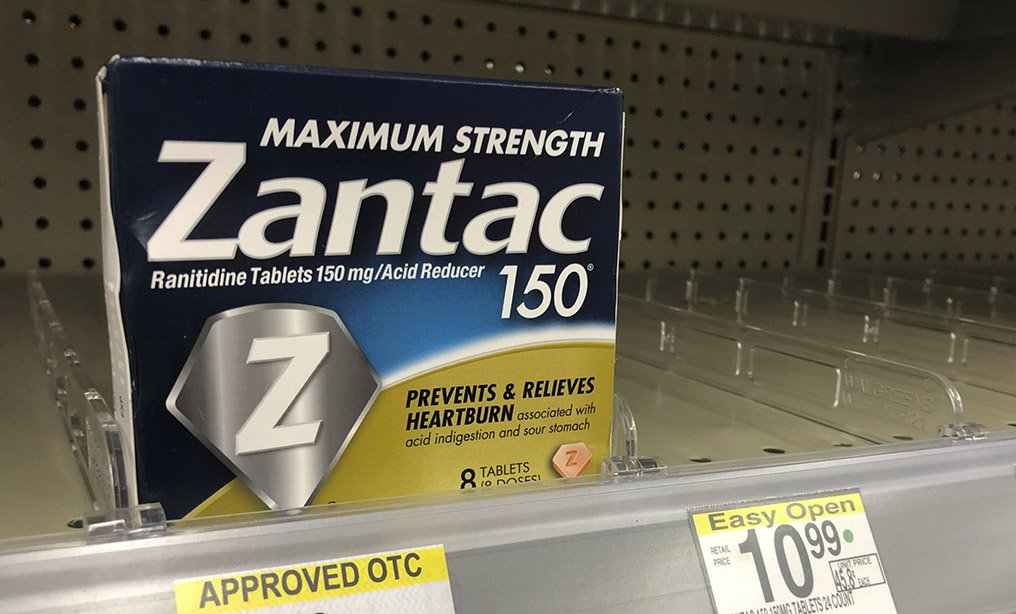 A box of Zantac tablets. On April 1 health regulators told drugmakers to immediately pull their popular heartburn drugs off the market. AP Photo: Wilfredo Lee