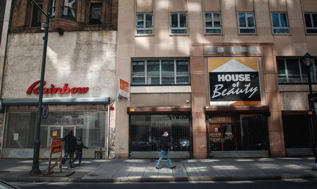 Closed shops in Center City Philadelphia