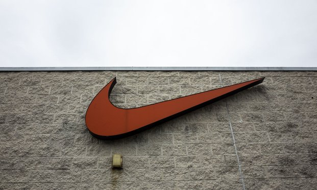 Nike logo displayed at an outlet store in Ocean City, MD. October 10, 2020. Photo: Diego M. Radzinschi/ALM
