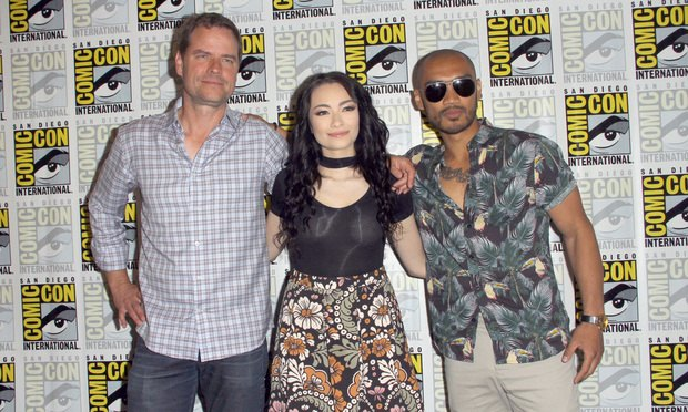 L-R Anthony Lemke, Jodelle Ferland and Alex Mallari Jr. at San Diego Comic Con 2017.