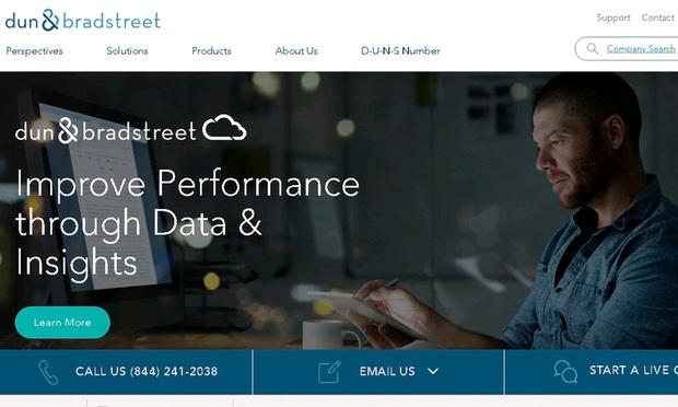 Screenshot of Dun & Bradstreet's website.