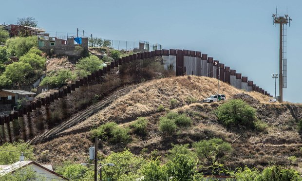 Border fence separating the United States and Mexico from Nogales, Arizona.