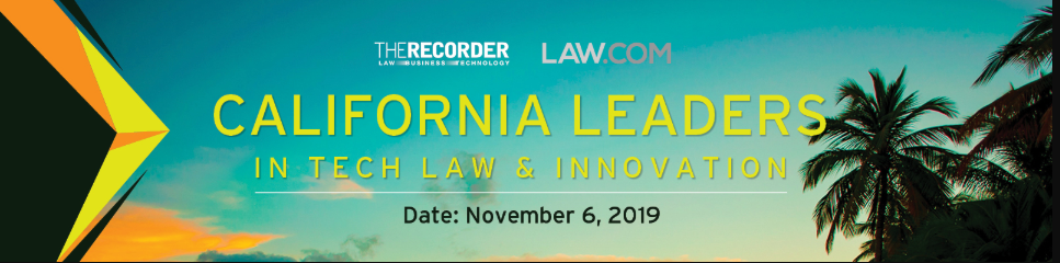 Logo for the 2019 California Leaders in Tech Law and Innovation Awards
