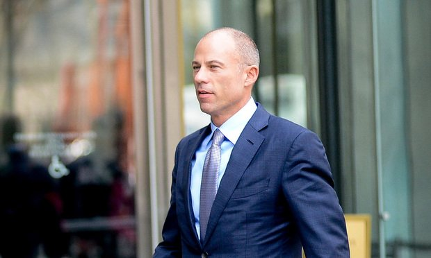 Michael Avenatti, attorney for Stormy Daniels, arrives at the Daniel P. Moynihan Courthouse in Manhattan for a hearing in front of Judge Kimba Wood regarding a search warrant that was executed at the home, hotel and office of Trump's lawyer Michael Cohen.