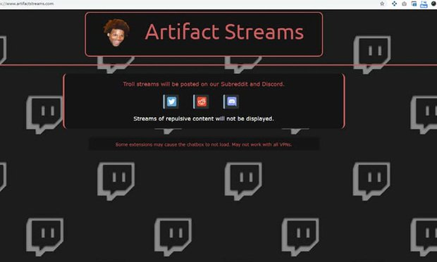 A screenshot of www.artifactstreams.com, a site that Twitch claims used one of its trademarked logos in a coordinated effort to flood the site with pornographic and violent videos.