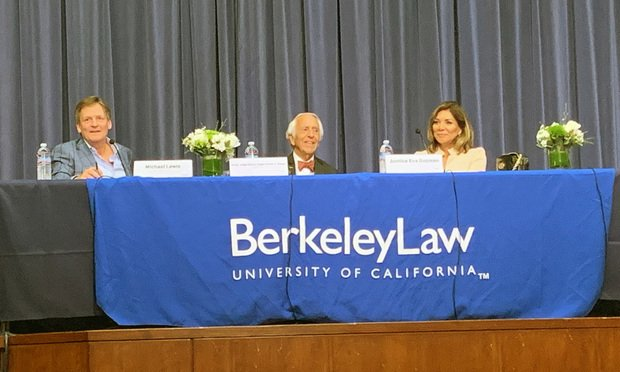 Author Michael Lewis (left) moderates a panel featuring U.S. District Senior Judge Charles Breyer of the Northern District of California (middle) and Justice Eva Guzman of the Supreme Court of Texas (right) at an event sponsored by The Berkeley Judicial Institute and the National Constitution Center on June 19, 2019 at University of California, Berkeley School of Law. (Photo: Ross Todd/ALM)