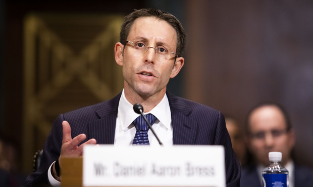 Daniel Bress testifies before the Senate Judiciary Committee during his confirmation hearing to be U.S. Circuit Judge for the Ninth Circuit Court of Appeals, on Wednesday, May 22, 2019.