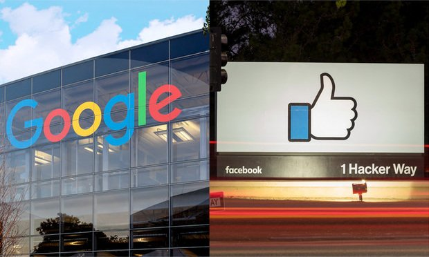 Google and Facebook signs