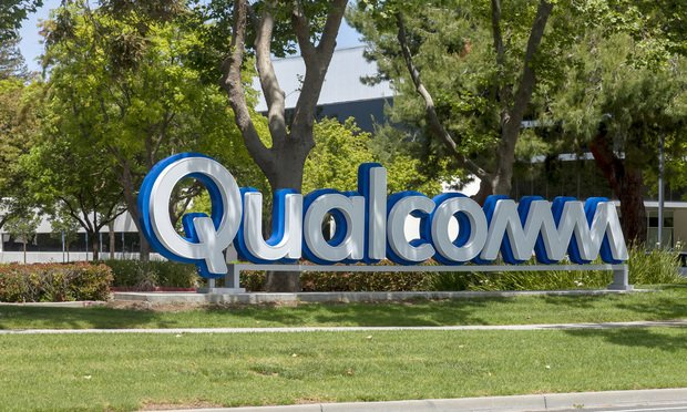 Qualcomm signage in front of Qualcomm's Sunnyvale, California campus located in the heart of Silicon Valley.