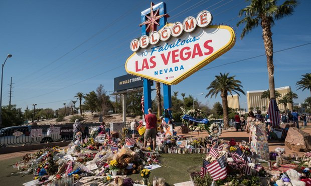 Flowers and gifts at the memorial park by the Mandalay Bay on the Vegas Strip at the Welcome to Las Vegas sign to remember victims killed in the Las Vegas attack shooting. October 13, 2017.