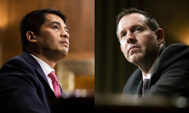 (L to R) Patrick Bumatay andLawrence VanDyke appearing before the Senate Judiciary Committee during confirmation hearing to be U.S. Circuit Judge for the Ninth Circuit Court of Appeals. (Photos Diego Radzinschi/ALM)