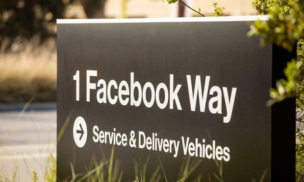 A giant thumbs-up button marks the entrace to the Facebook campus, located at 1601 Willow Road in Menlo Park, CA.