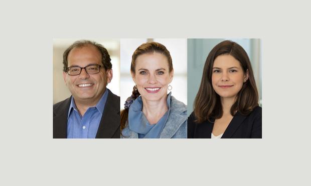 (l-r) Amr Razzak, Stacy Kray, and Kelsey Merrick, with Skadden.