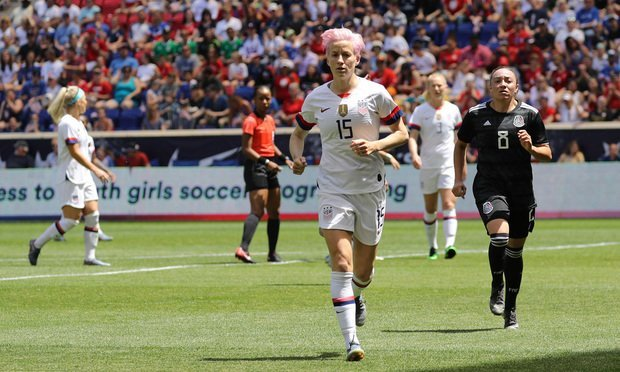 U.S. Women's National Soccer Team forward Megan Rapinoe #15 in action during friendly game against Mexico as preparation for 2019 Women's World Cup in Harrison, NJ