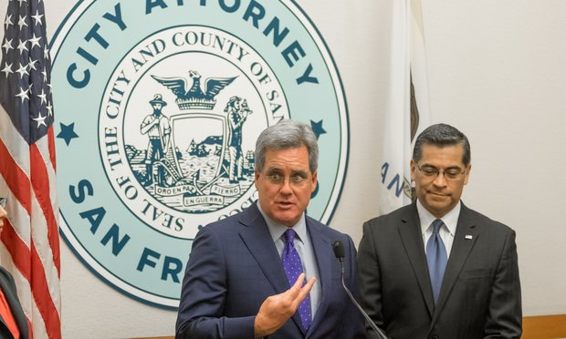 California State Attorney General Xavier Becerra and San Francisco City attorney Dennis Herrera announce the filing of a joint lawsuit against funding restrictions proposed by the Trump administration