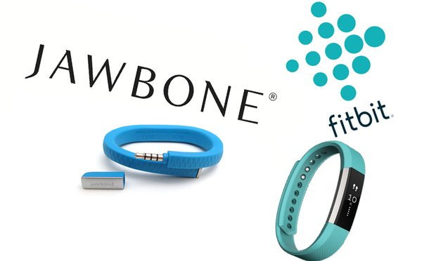 Jawbone and Fitbit logos circa 2017.