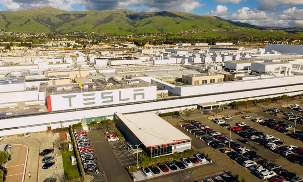 An overhead view of the Tesla factory in Fremont, California.