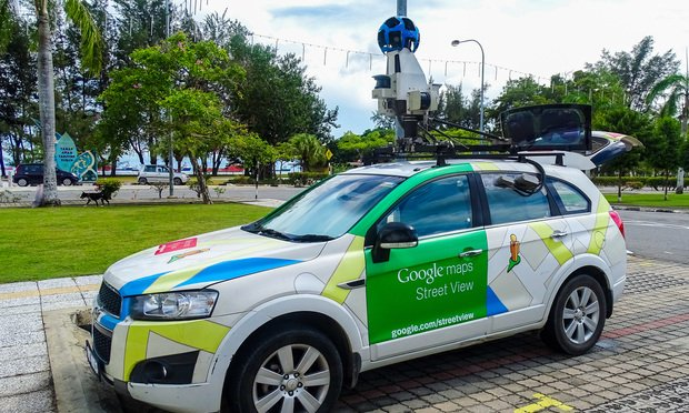 View of the Google maps or Google Street view car with 360° camera on the street in Labuan,Malaysia.Its formerly know as mapstreetview.com.