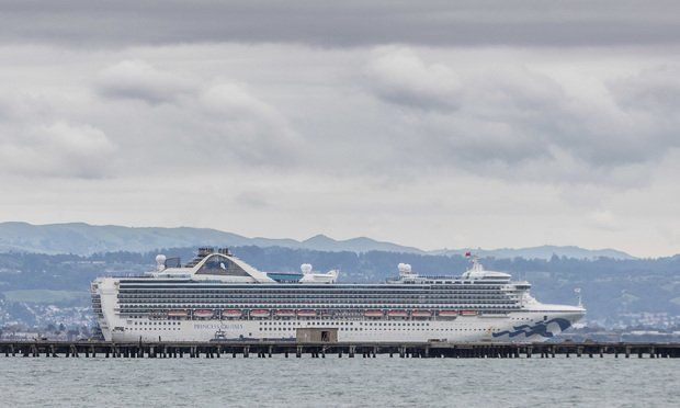The Princess Cruises Grand Princess is moored off the shore of San Francisco in the bay awaiting a 14 day quarantine period. (Photo: Jason Doiy/ALM)