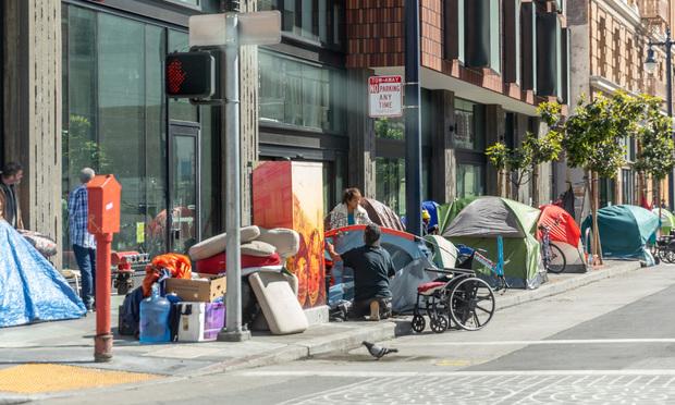 Homeless camp on Eddy and Taylor in San Francisco's Tenderloin on April 3, 2020 (Photo: Jason Doiy/ALM)