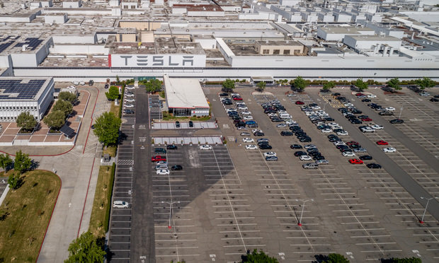 The Tesla automobile factory in Fremont California, closed since March, filed a lawsuit to reopen. (Photo: Jason Doiy/ALM)