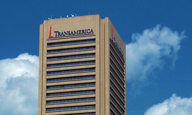 Corporate headquarters of Transamerica Corp. in downtown Baltimore.