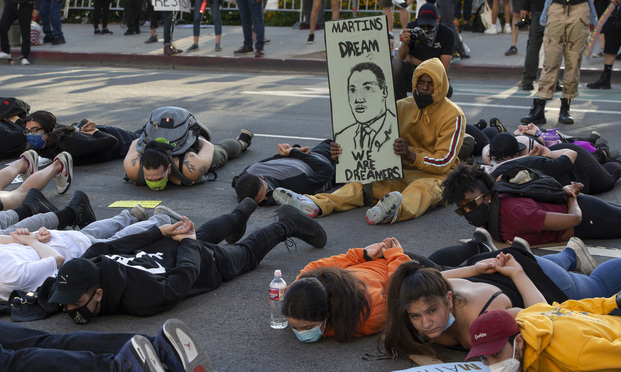 """A """"Black Lives Matter"""" protest in Los Angeles"""