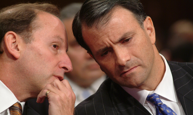 Abbe Lowell counsels Jack Abramoff at the Oversight Hearing Before theSenate Committee on Indian Affairs.on Tribal Lobbying Matters. Abramoff cited 5th amendment right to all questons. Credit: Roberto Westbrook. 9/29/04..