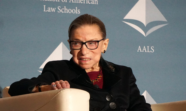 U.S. Supreme Court Justice Ruth Bader Ginsburg speaks at the Association of American Law School's annual meeting, Jan. 4, 2020.