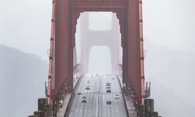 View of the morning commute on March, 24, 2020, showing San Francisco's Golden Gate Bridge. (Photo: Jason Doiy/ALM)