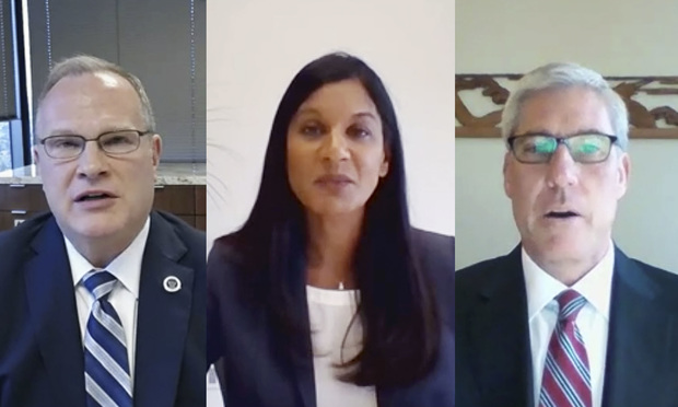 (l-r) Judicial nominees John W. Holcomb, to be U.S. District Judge for the Central District of California, and R. Shireen Matthews and Todd Wallace Robinson, both to be U.S. District Judges for the Southern District of California, appear via video teleconferencing before the Senate Judiciary Committee during their confirmation hearing on Wednesday, June 17, 2020.