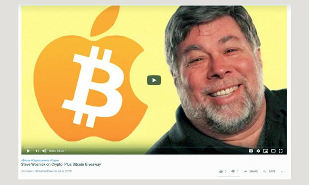 Image from complaint where Apple co-founder Steve Wozniak is suing YouTube and parent company Google for failing to shut down cryptocurrency schemes that bear his likeness on the platform..