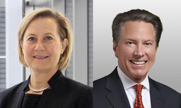 Beth Brinkmann, left, and John E. Hall, right. Photo: Diego M. Radzinschi/ALM