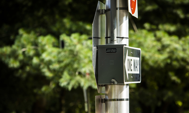 Verizon Wireless small cell wireless station in Baltimore, MD. August 12, 2020.