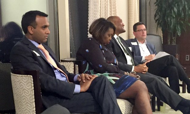 "Shyam Reddy (from left), Juliette Pryor, Richard Jones and Peter Muniz were part of a panel on the topic, ""Navigator of Your Fate: Key Strategies for Leveraging Your Career Trajectory, hosted by Wargo French, Atlanta"