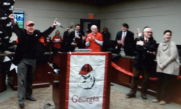 Judge LaTain Kell holds a pep rally in his courtroom before the Georgia Alabama game on Monday.