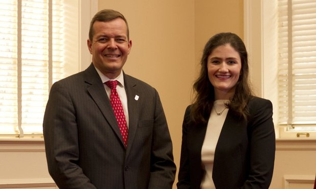 UGA Law Dean Peter Rutledge (left) and Amanda Newton