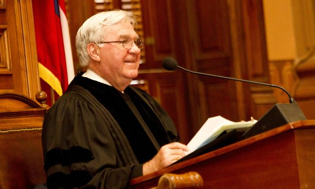 Chief Justice P. Harris Hines of the Georgia Supreme Court gives the State of the Judiciary address at the State Capitol