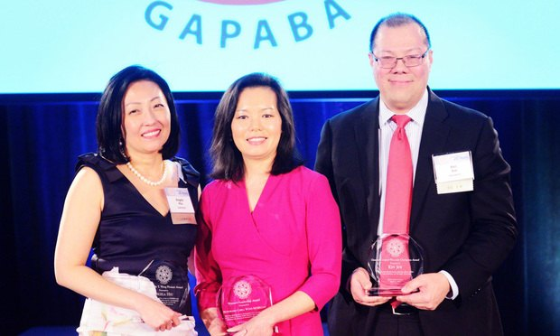 GAPABA presented (from left) Angela Hsu with the Judge Alvin T. Wong Pioneer Award, Judge Carla Wong McMillian with the Women's Leadership Award, Ken Jew with the General Counsel Diversity Champion Award and (not shown) Rep. Sam Park with the Rising Star Award. (Courtesy photo)