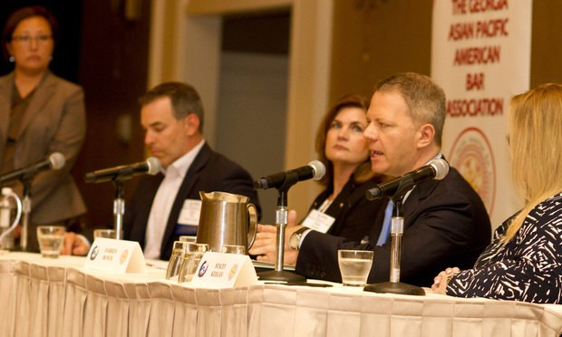 Moderator Sou Ford and panelists (from left) Darren Bowie, Phyllis Sumner, Mark Ford and Stacey Keegan discuss Cybersecurity at the 2018 NAPABA Southeast Regional Conference on Friday. (Photo: John Disney/ALM)